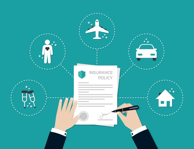 Businessman hands signing and stamped on the insurance policy form document, business concept Premium Vector
