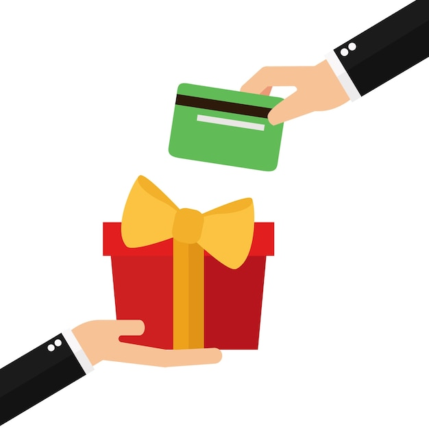 Businessman hands with packed present and credit card Premium Vector