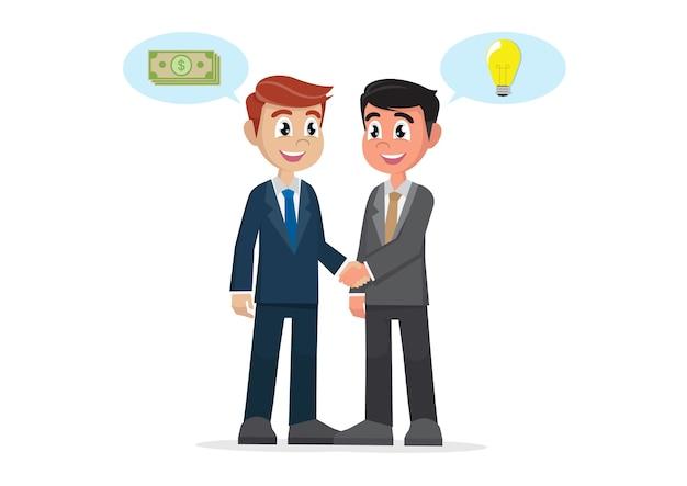 Businessman handshake deal between ideas and money. Premium Vector