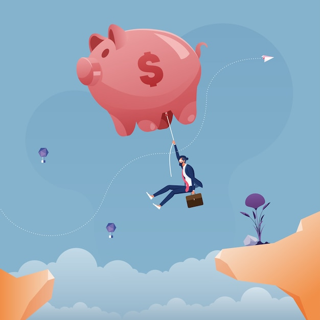 Businessman hanging on a large piggy bank balloon across the cliff-business saving concept Premium Vector