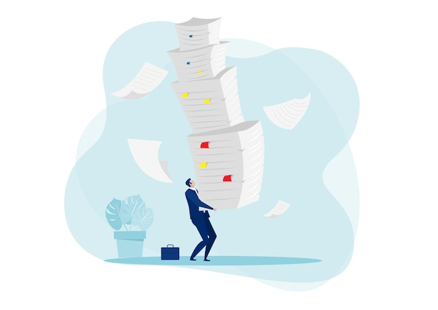 Businessman hard work with pile of documents concept  . Premium Vector
