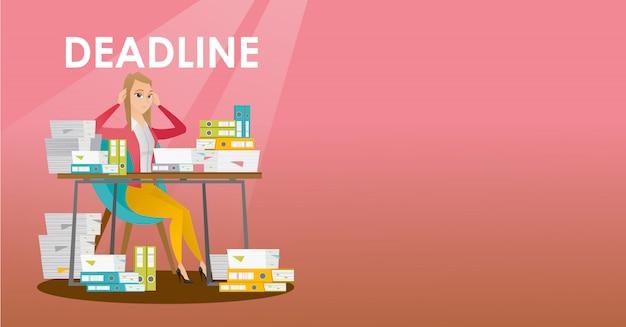 Businessman has a problem with a deadline. Premium Vector
