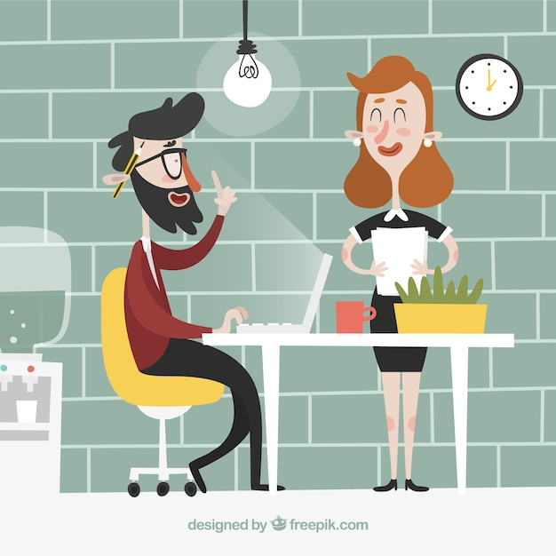 Businessman having a good idea while working Free Vector