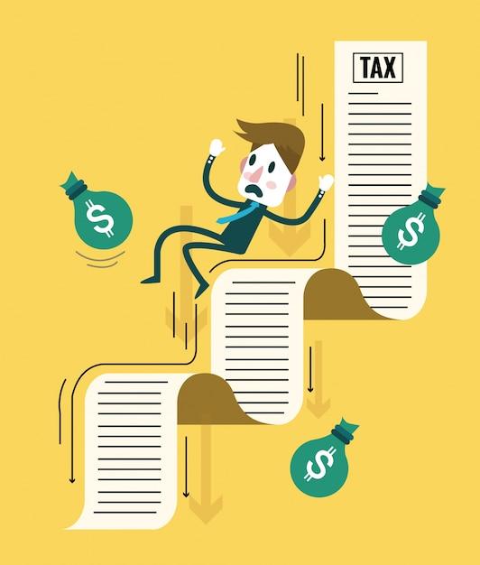 Businessman and his money flowing down on tax document. tax debt burden. flat design elements. vector illustration Premium Vector