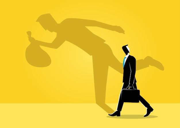 Businessman and his shadow Premium Vector