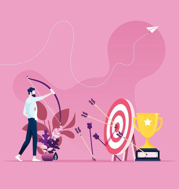 Businessman hitting the target with a bow and arrow Premium Vector