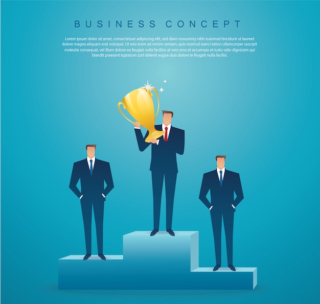 Businessman hold the gold trophy successful winner Premium Vector