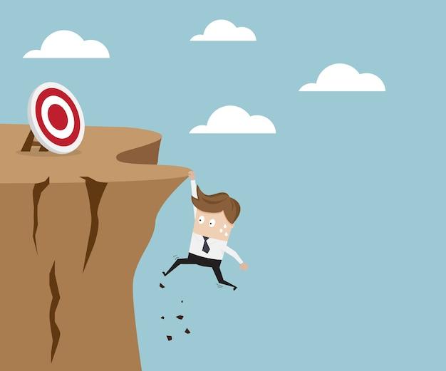 ビジネスマン、崖、目標 Premiumベクター