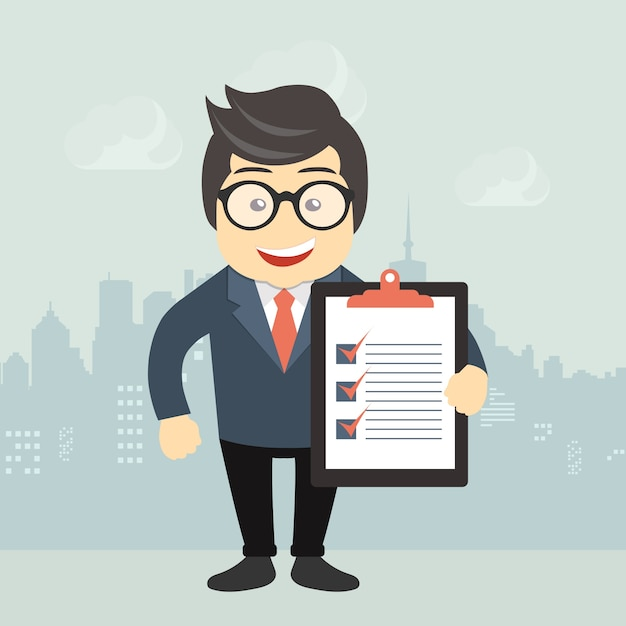 Businessman holding a document Free Vector