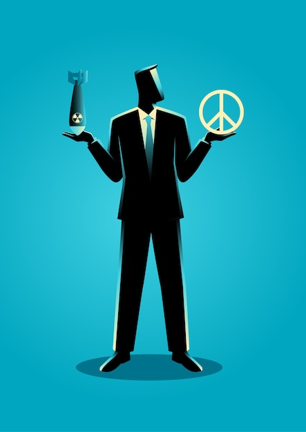 Businessman Holding An Atomic Bomb And A Peace Symbol Vector