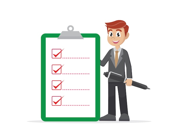 Businessman holding big checklist. | Premium Vector