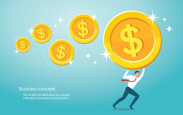 Businessman holding big gold coin Premium Vector