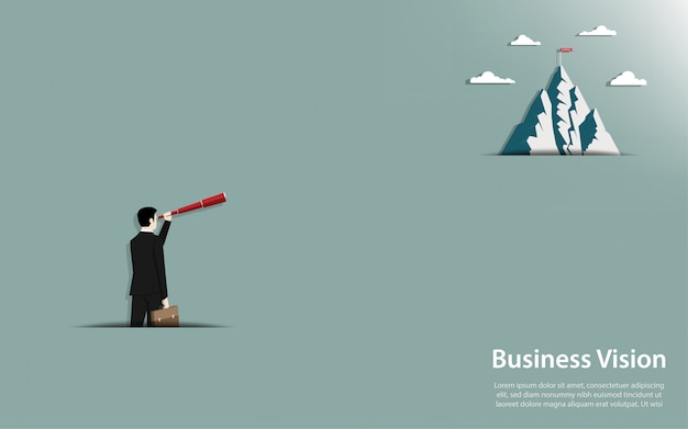 Businessman holding a binocular look at go to the mountain with success flag Premium Vector