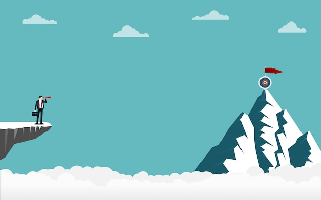 Businessman holding a binocular standing on cliff looking go to target on top of mountain Premium Vector
