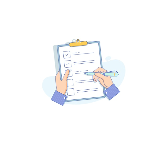 Businessman holding checklist and pencil Premium Vector
