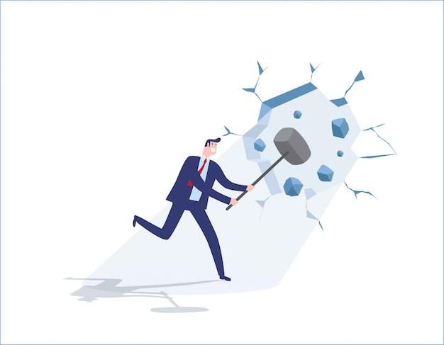 Businessman holding a hammer breakthrough the wall Premium Vector