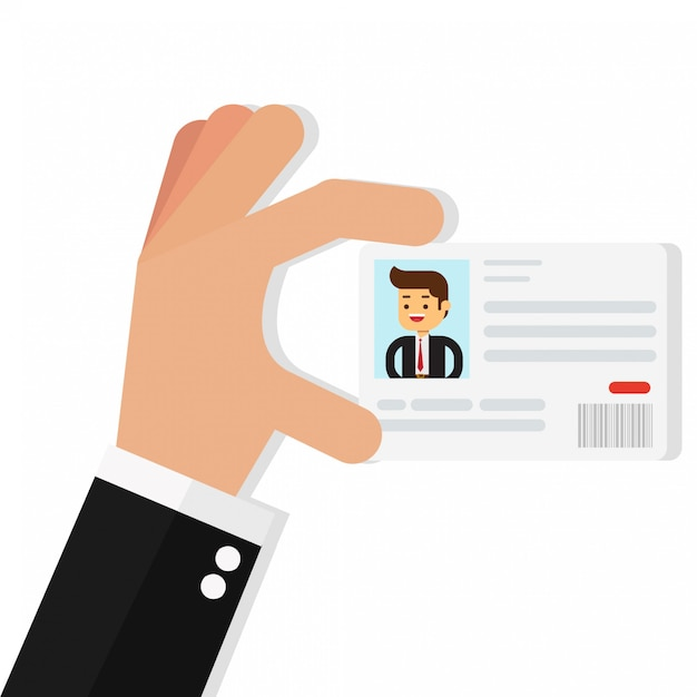 Businessman holding the id card Premium Vector