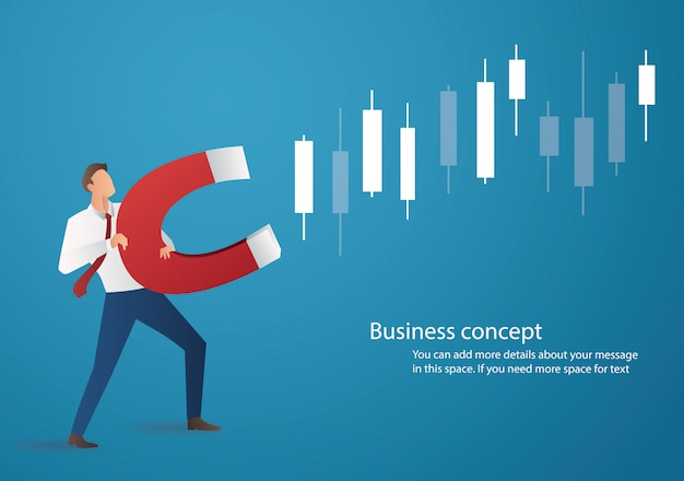 Businessman holding magnet attract to candlestick chart Premium Vector