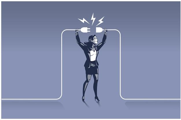 Бизнесмен, держа вилки, пытаясь подключить провода. бизнес-концепция иллюстрация нужного человека в нужном месте Premium векторы