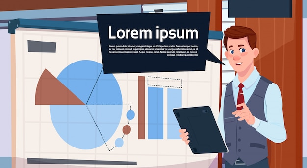 Businessman holding presentation stand over board with charts and graph business man seminar Premium Vector