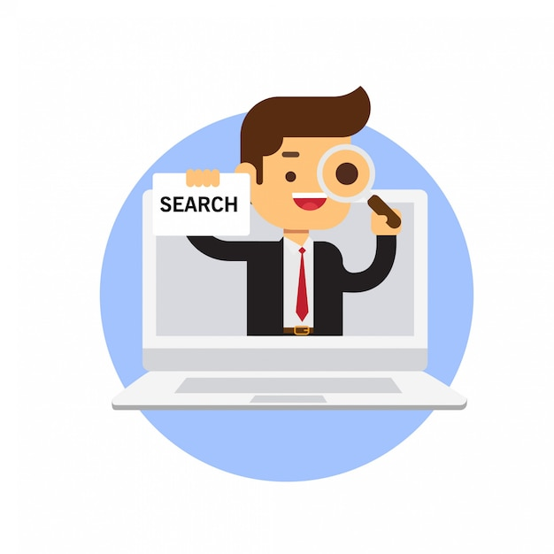 Businessman holding search sign in laptop Premium Vector