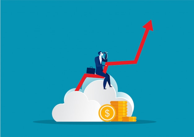 Premium Vector | Businessman holding spyglass looking for opportunities up  growth arrow to future vector illustration in flat style
