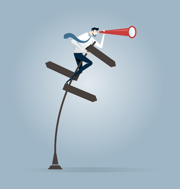Businessman holding telescope on a crossroad sign Premium Vector
