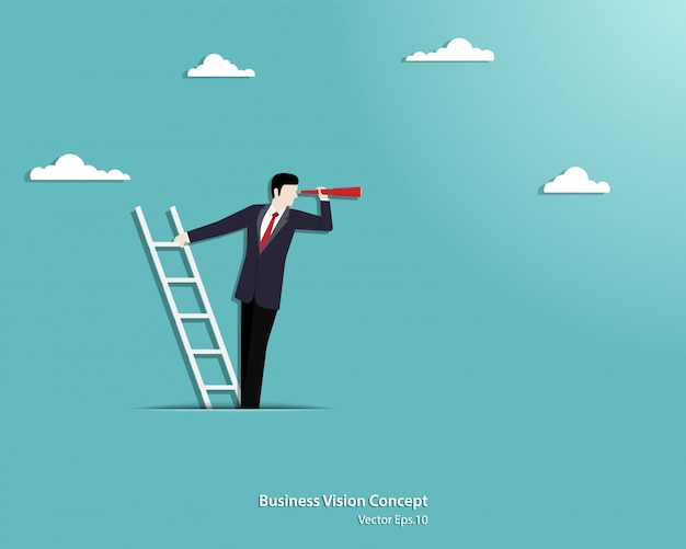 Businessman holding telescope standing on top of ladder above clouds Premium Vector