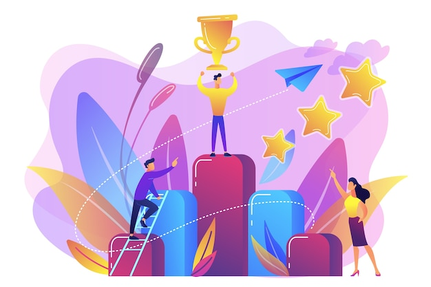 Businessman holds a trophy cup on top of column graph. key to success and success story, business chance, on the way to success concept Free Vector