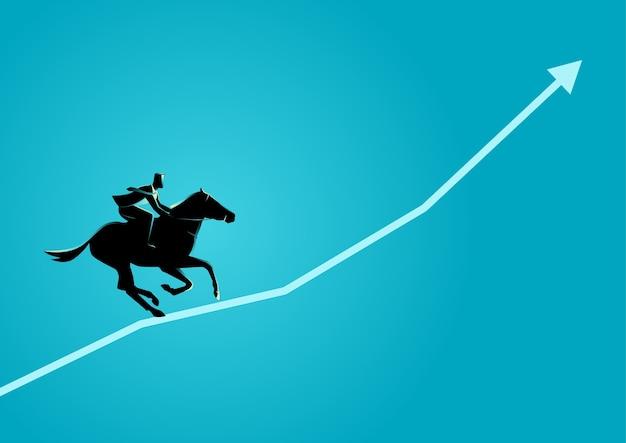 Businessman on horseback running on graphic chart Premium Vector