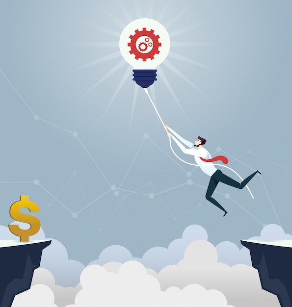 Businessman hung rope across the gap  - business concept Premium Vector
