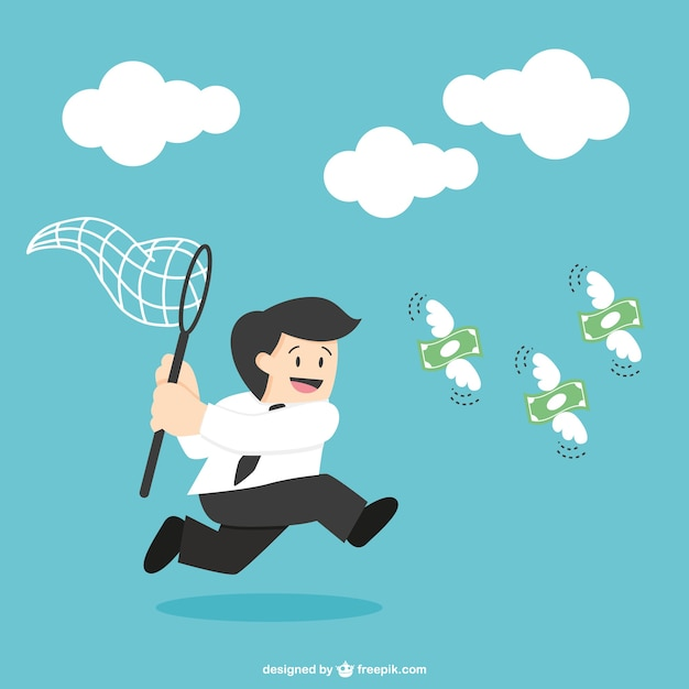 Businessman hunting for money Free Vector