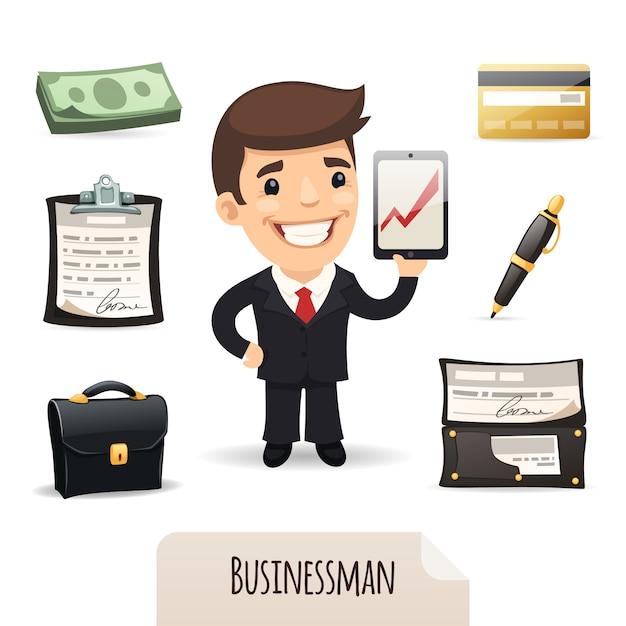 Businessman icons set Premium Vector