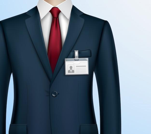 現実的なビジネスマンidバッジホルダー 無料ベクター