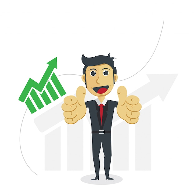Businessman illustration with profit progress concept. Premium Vector