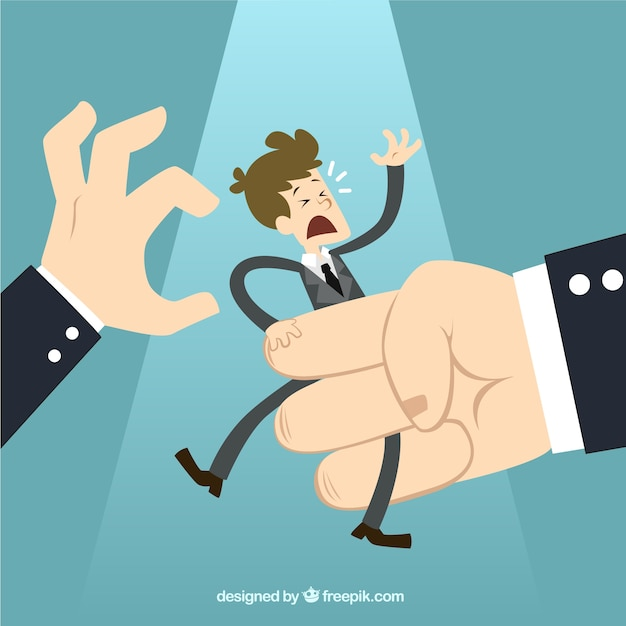 Businessman in a big hand Free Vector