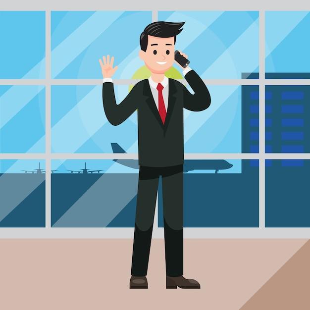 空港からの電話のビジネスマン Premiumベクター