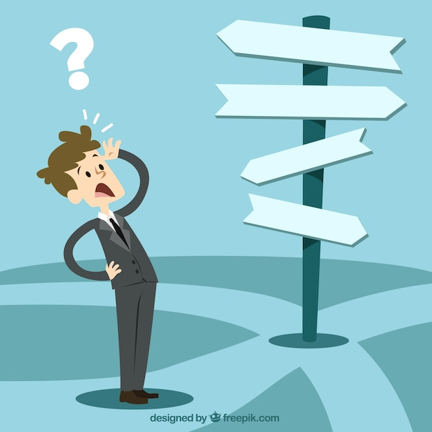 Character Design Career Path : Businessman in front of a choice vector free download