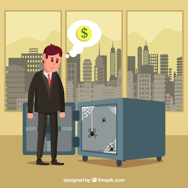 Businessman in office with empty safe box Free Vector