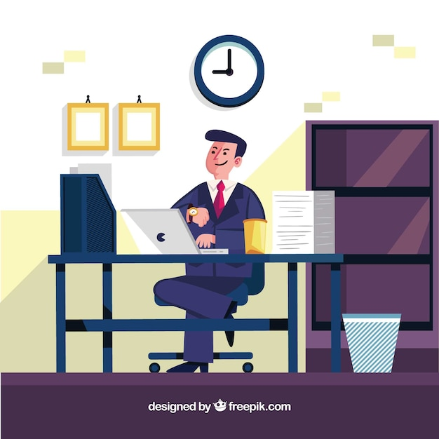 Businessman in the office Free Vector