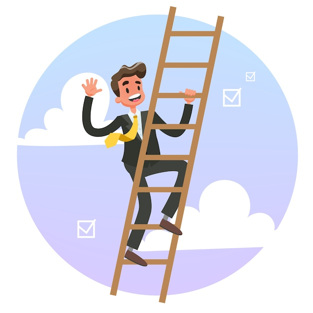 はしごを登るスーツのビジネスマン。 Premiumベクター