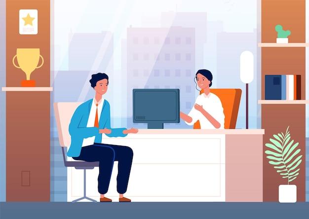Интервью с бизнесменом. мужской персонаж в человеке набора босса кабинет. Premium векторы