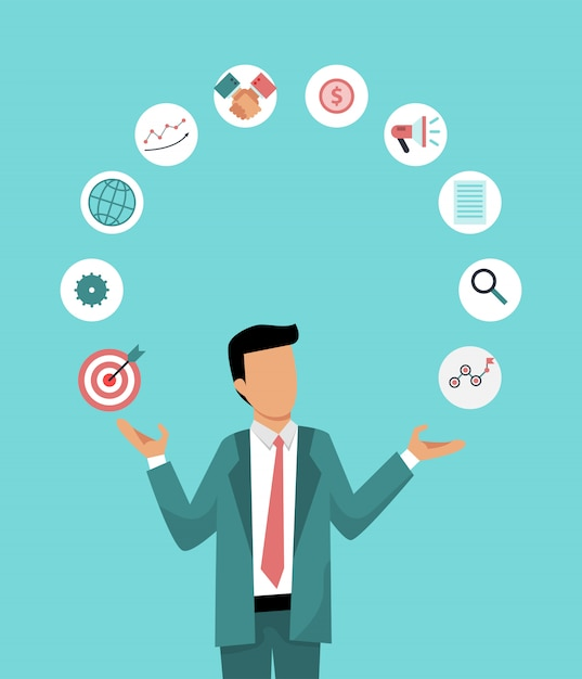 Businessman is juggling business icons. illustration of the correct distribution work time. business management. Premium Vector