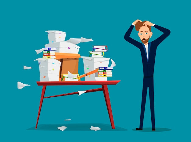 Businessman is near table with pile of office papers and documents Premium Vector
