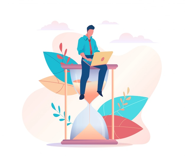 A businessman is sitting on an hourglass with laptop Premium Vector