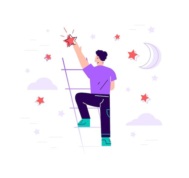 Бизнесмен стоит на лестнице и достигает звезды на небе - плоской иллюстрации. цели и мечты. концепция бизнеса и карьеры. современный дизайн плоский стиль иллюстрации изолированы. Premium векторы