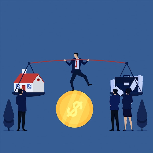 Businessman juggling act above coin confuse between home and work. Premium Vector