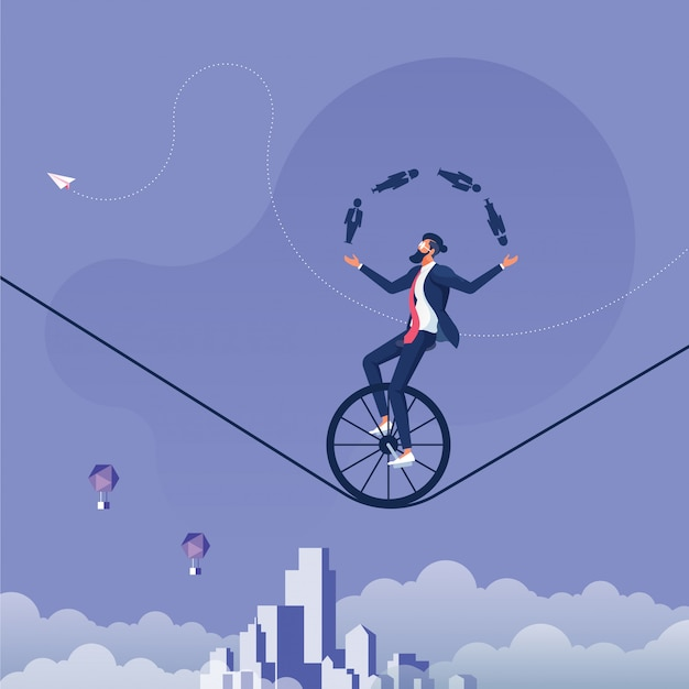 Businessman juggling men and women icon whilst riding a unicycle-man management concept Premium Vector