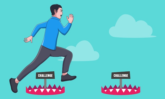 Businessman jump over challenge Premium Vector