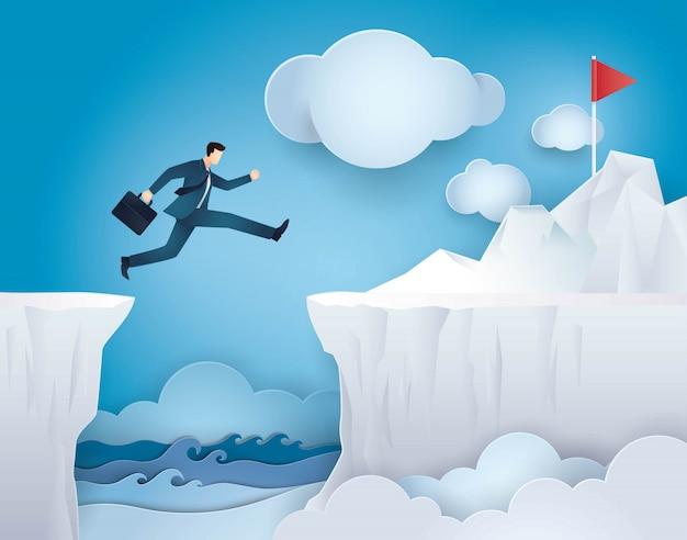 Businessman jump over between cliff gap mountain Premium Vector